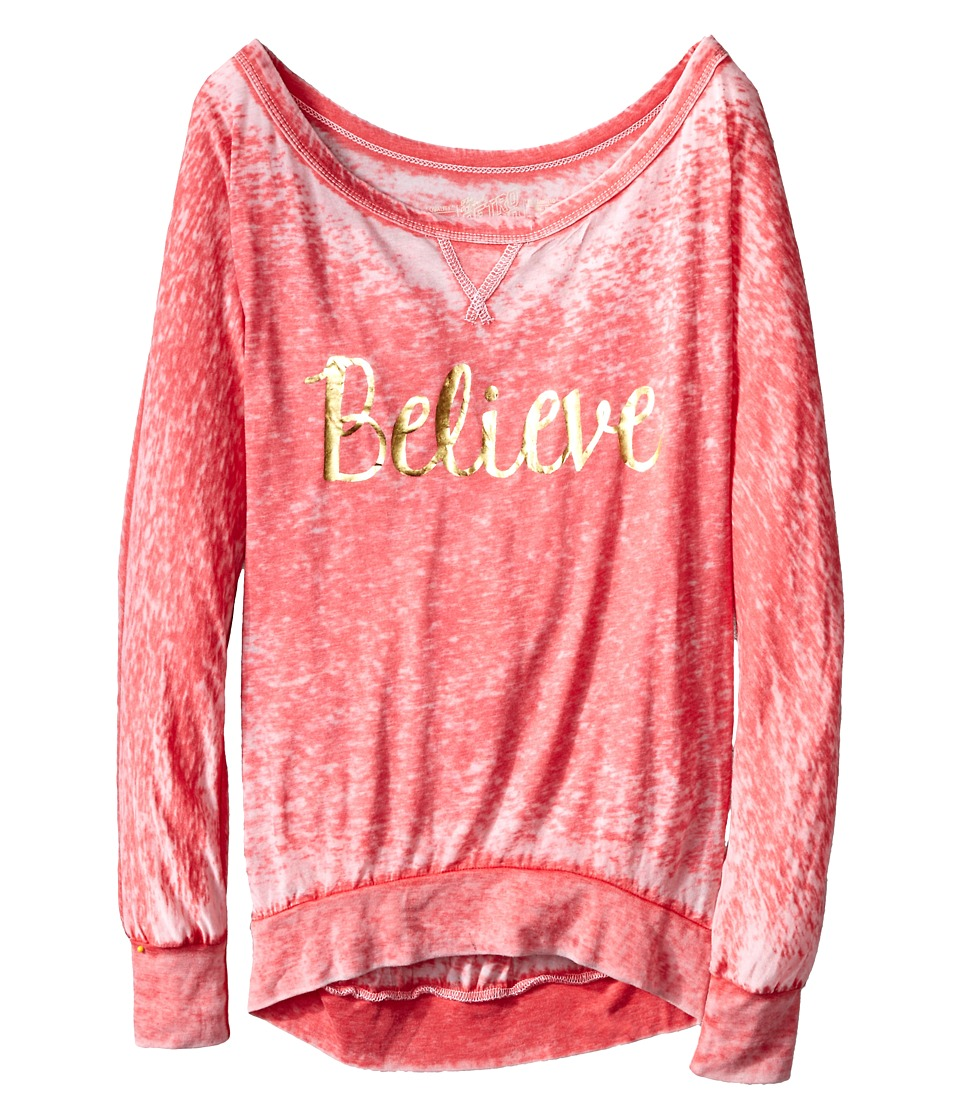 The Original Retro Brand Kids - Believe Long Sleeve Pullover (Big Kids) (Red) Girl's Long Sleeve Pullover