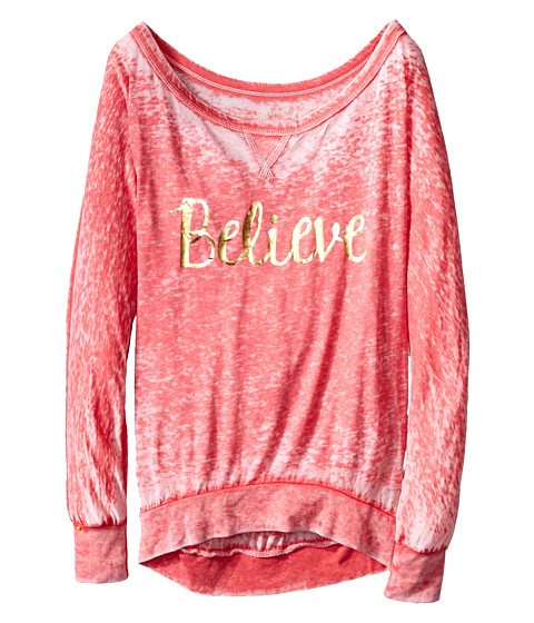 The Original Retro Brand Kids - Believe Long Sleeve Pullover (Big Kids) (Red) Girl