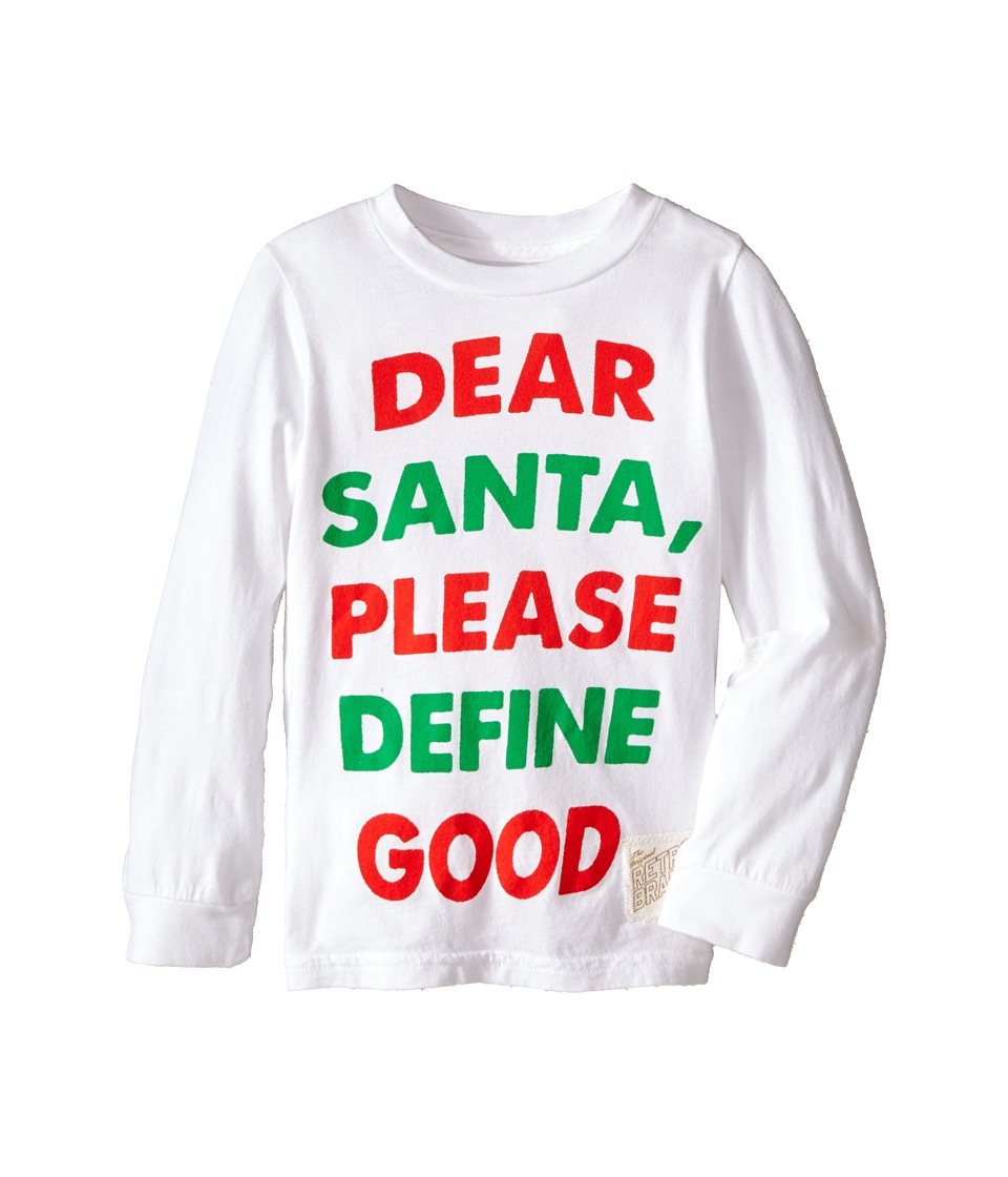 The Original Retro Brand Kids - Dear Santa Long Sleeve Tee (Toddler) (White) Boy's T Shirt