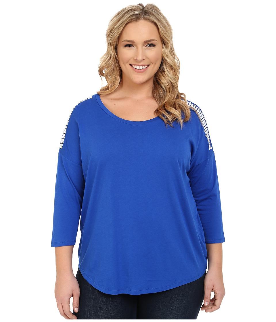 MICHAEL Michael Kors - Plus Size Stud Shoulder 3/4 Sleeve Top (Amalfi Blue) Women's Long Sleeve Pullover