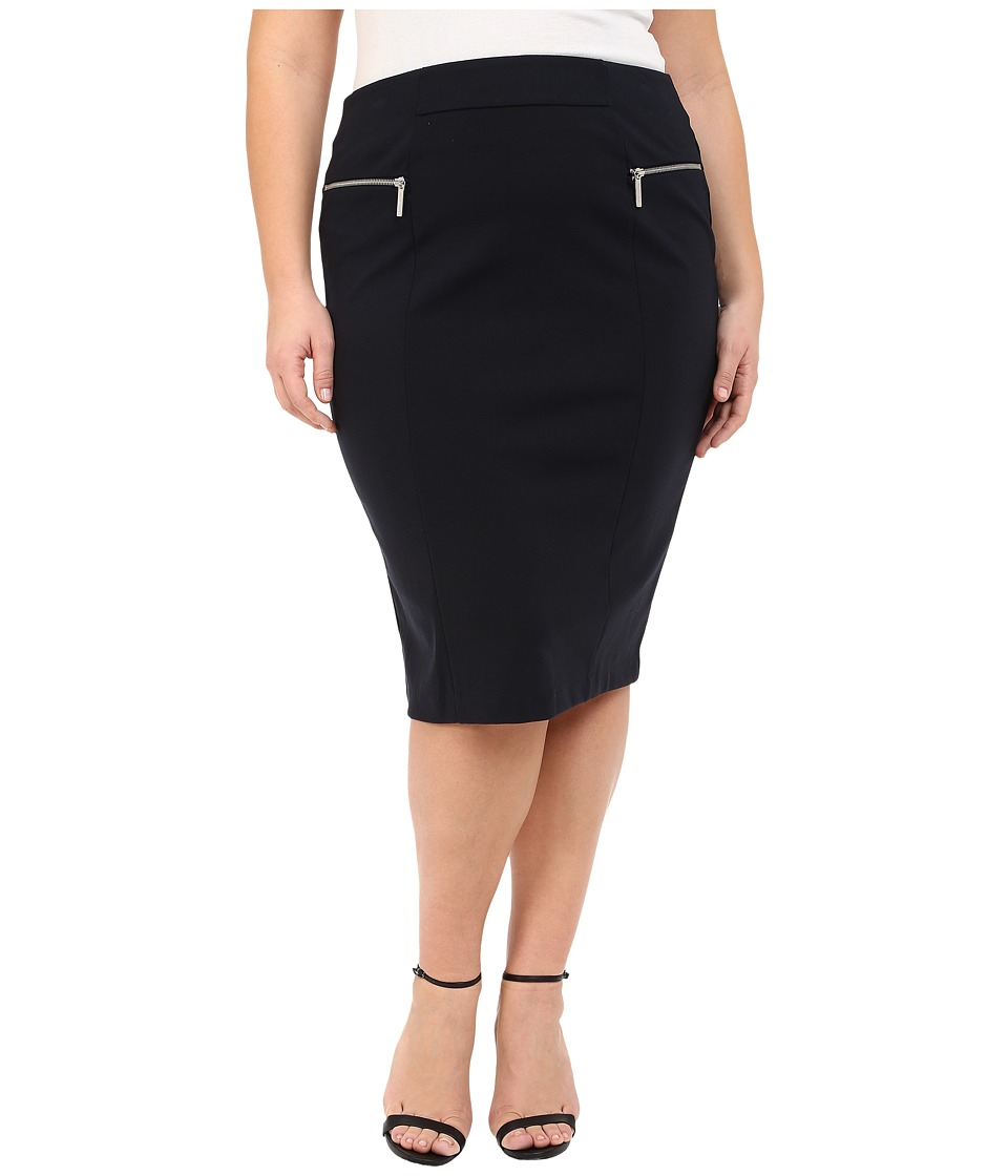 MICHAEL Michael Kors - Plus Size Zip Ponte Long Pencil Skirt (New Navy) Women's Skirt