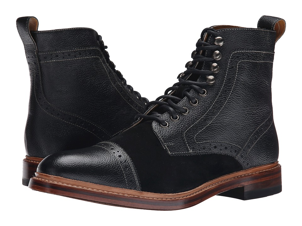 Stacy Adams - Madison II - 68 (Black/Black Suede) Men's Lace Up Cap Toe Shoes