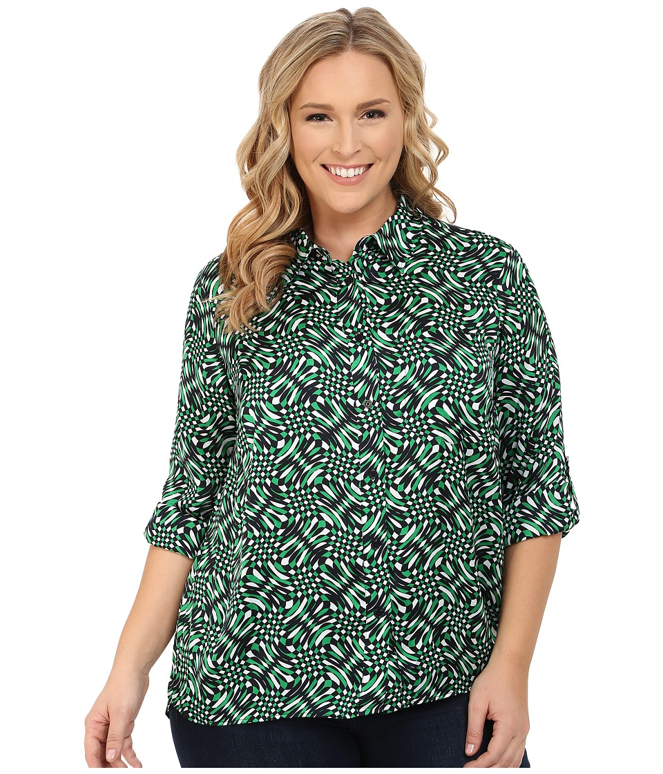 MICHAEL Michael Kors - Merver Hi-Lo Button Down Top (Spring Green) Women's Long Sleeve Button Up