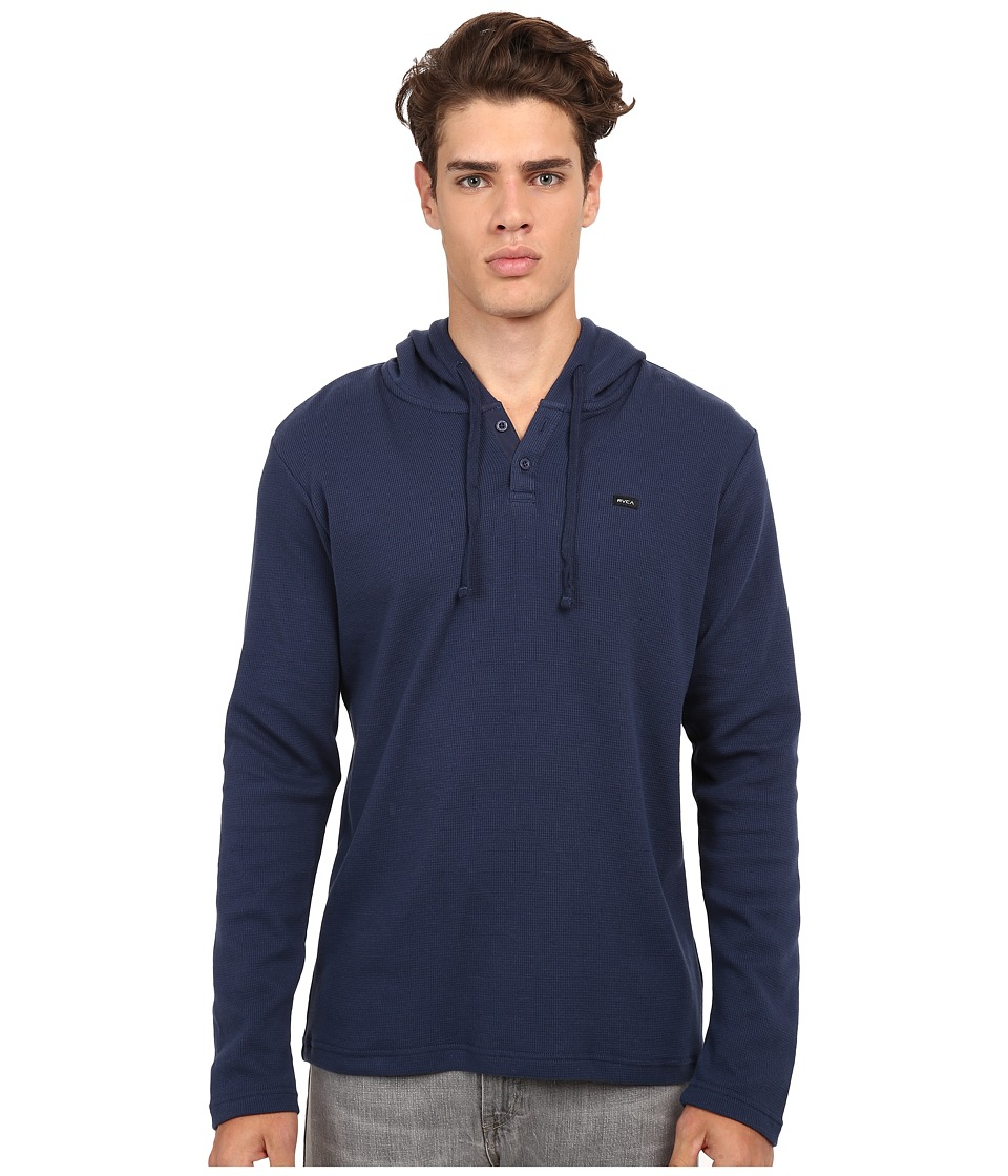 RVCA - Thomas Hooded Knit Shirt (Neptune Blue) Men's Sweatshirt