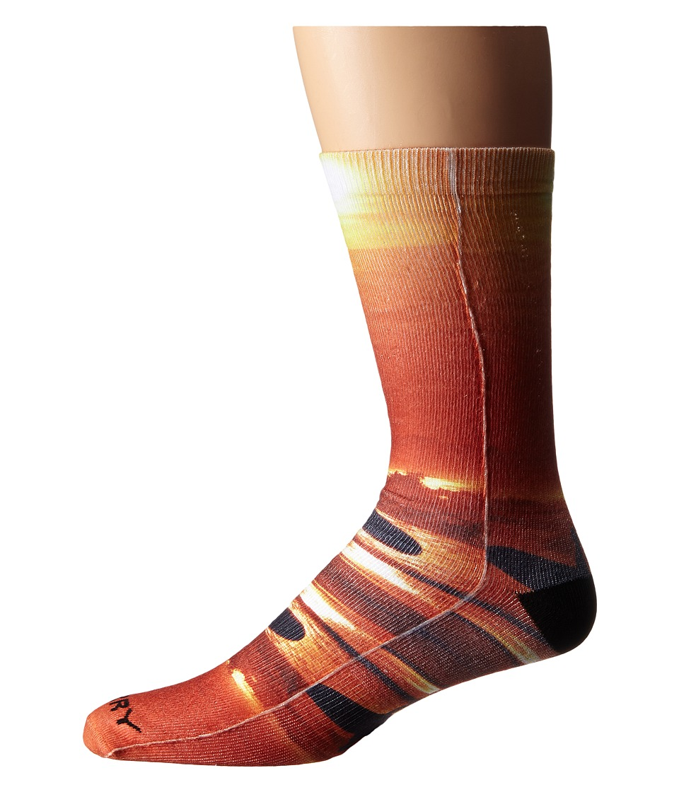 Sperry - Sunset Surf Print (Orange) Men's Crew Cut Socks Shoes