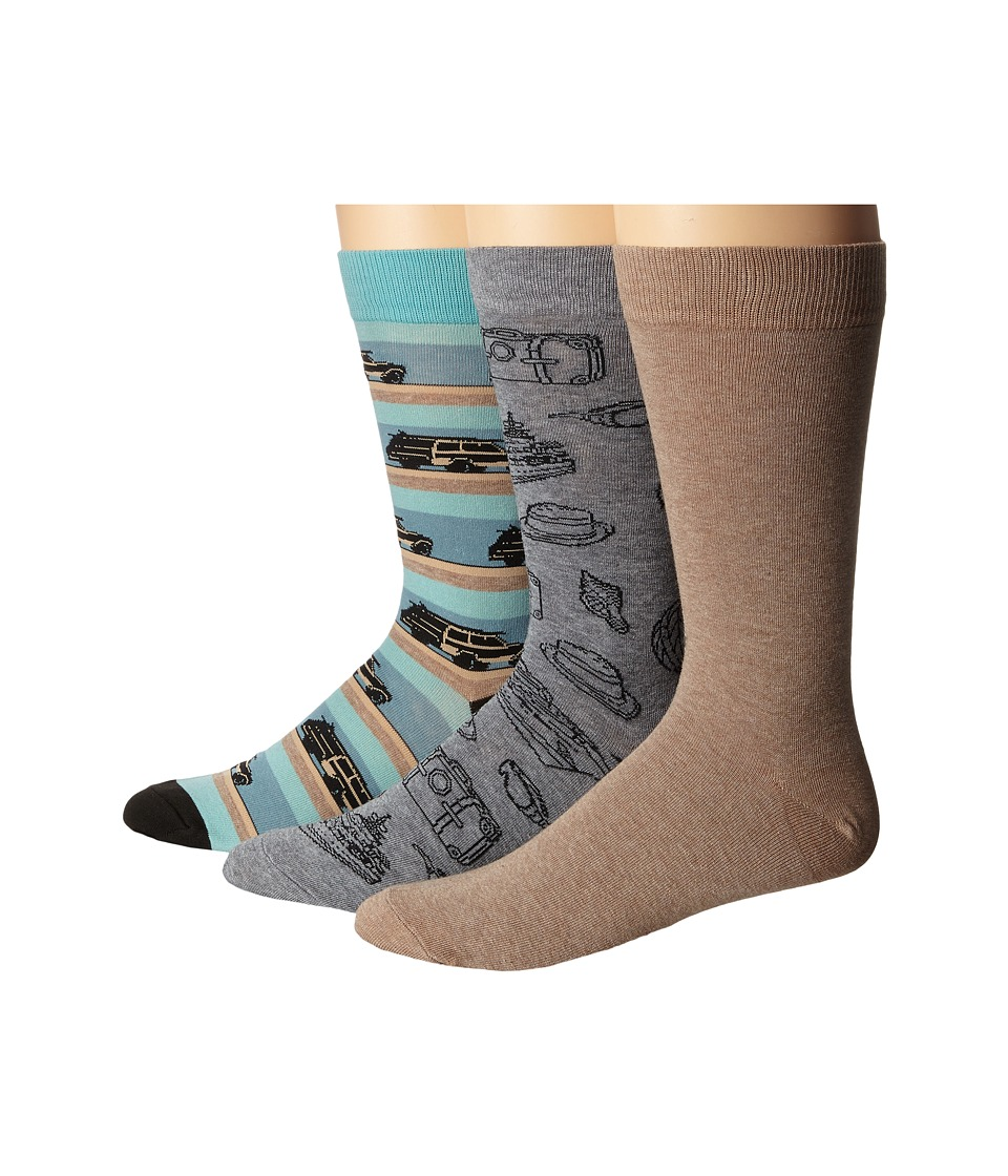 Sperry - Novelty Crews 3-Pack (Aqua) Men's Crew Cut Socks Shoes