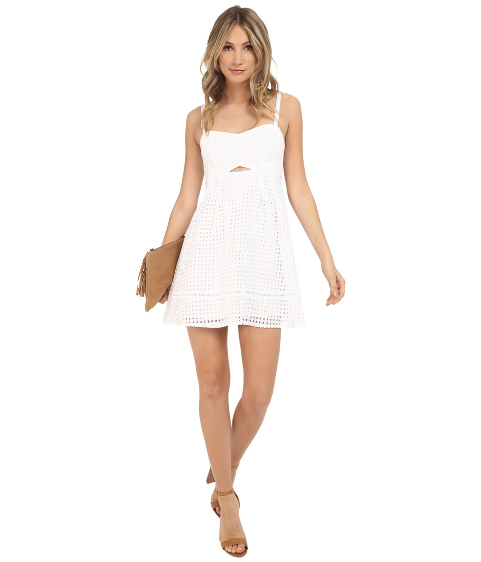 Jack by BB Dakota - Lenora Geometric Eyelet Smocked Back Dress (White) Women's Dress