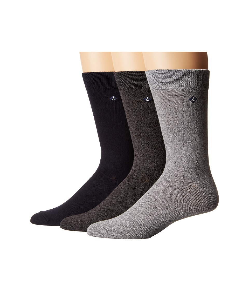 Sperry - Casual Crews 3-Pair Pack (Marl Griffin Gray/ High Rish Assorted) Men's Crew Cut Socks Shoes