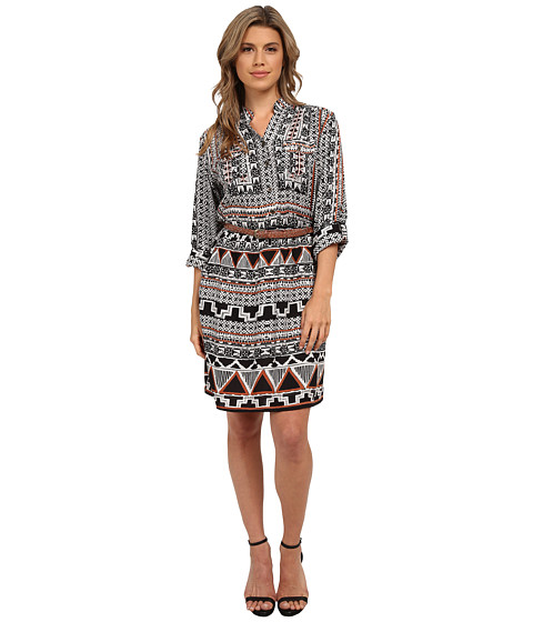 Angie - Short Sleeve Print Tie Waist Dress (Black/Grey) Women's Dress