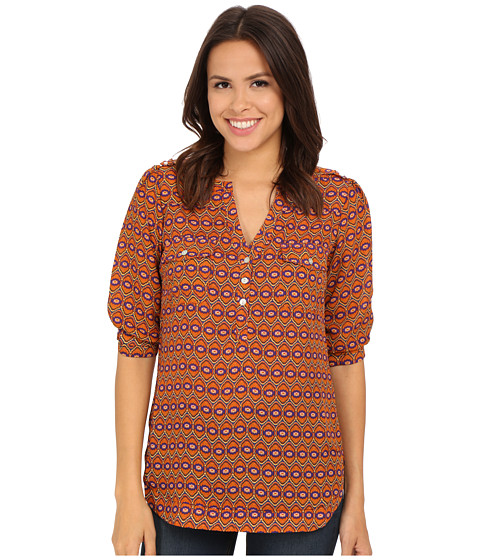Angie - Short Sleeve Retro Print Top (Rust) Women