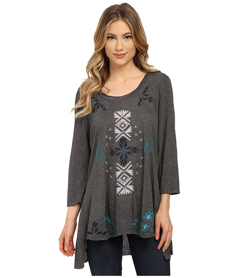 Angie - 3/4 Sleeve Embroidered Tunic Top (Charcoal) Women's T Shirt
