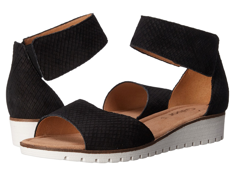 Gabor - Gabor 44.570 (Schwarz Cobra Nubuk) Women's Wedge Shoes