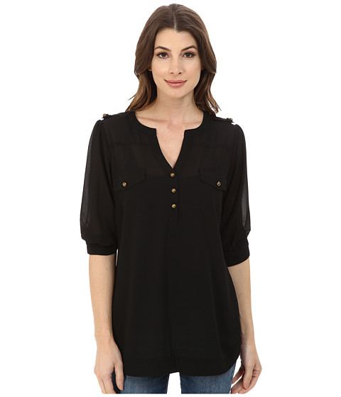 Angie - 3/4 Sleeve Blouse (Black) Women's Clothing