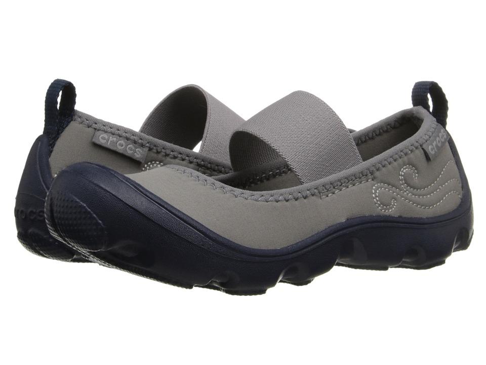 Crocs Kids - Busy Day MJ Flat Girls (Toddler/Little Kid) (Navy/Light Grey) Girl's Shoes