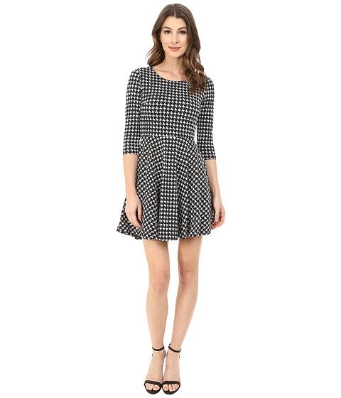 Angie - 3/4 Sleeve Print Knit Dress (Black/White) Women