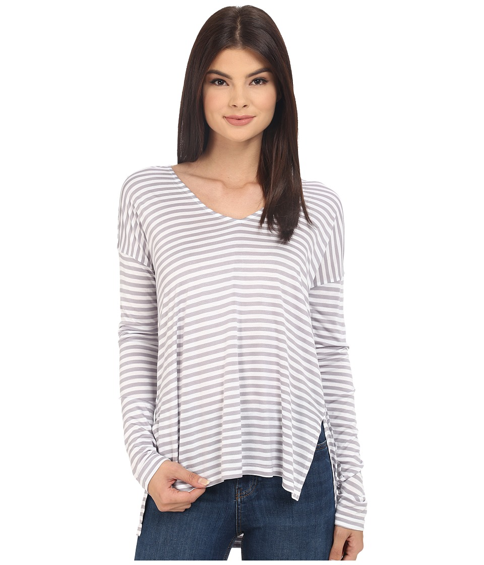 Jack by BB Dakota - Bryton Yarn Dye Strip Rayon Jersey V-Neck Top (Storm Grey) Women's Long Sleeve Pullover