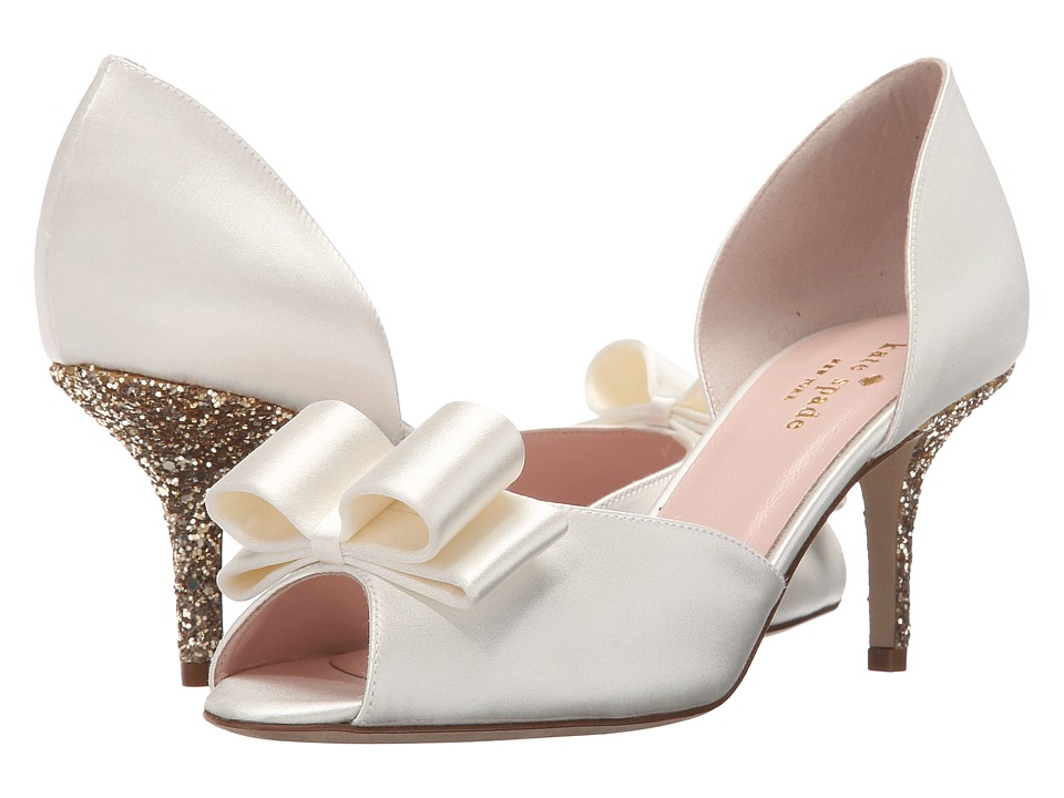 Kate Spade New York - Sela (Ivory Satin/Gold Glitter) Women's Shoes
