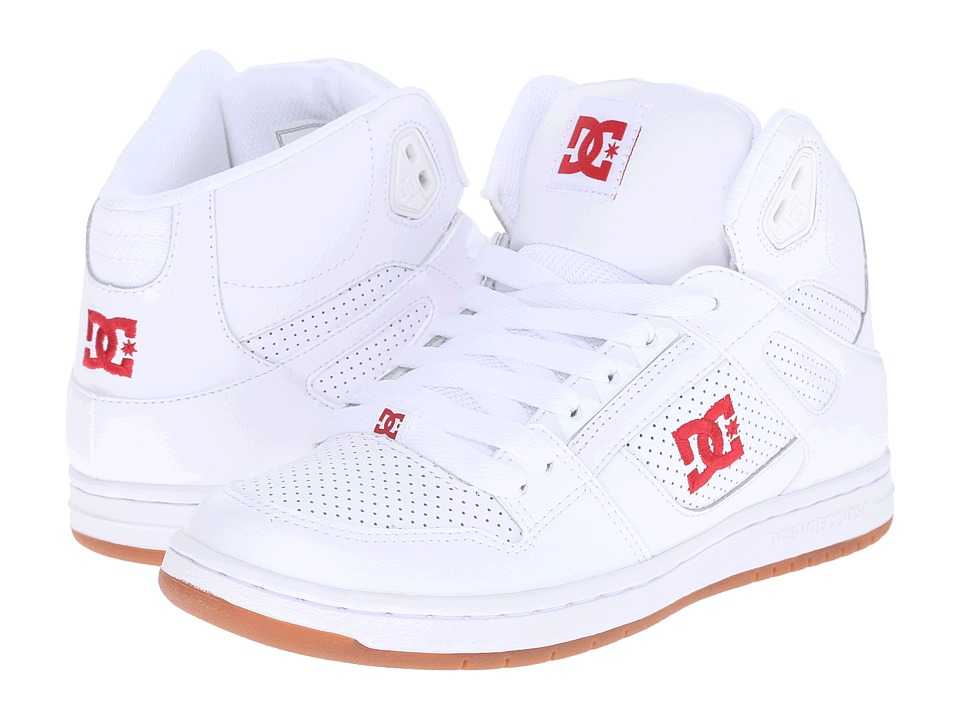 DC - Rebound Hi W (White/Red) Women's Skate Shoes