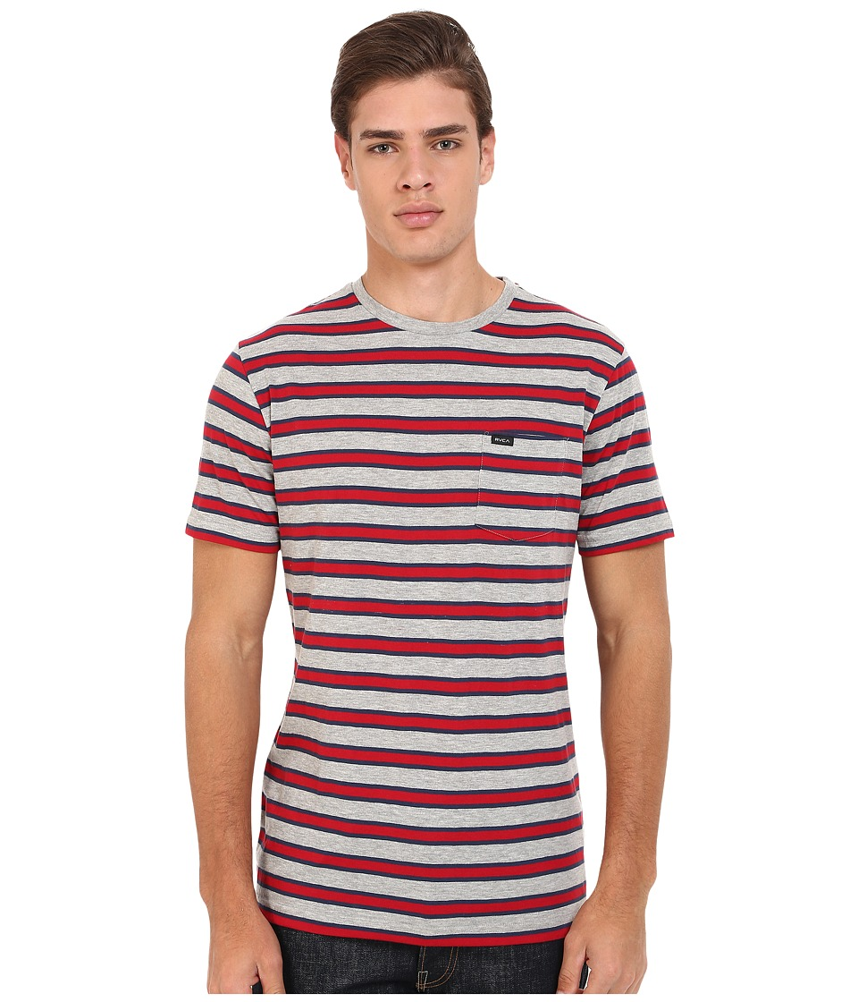 RVCA - Fell Stripe Crew (Grey Noise) Men's Short Sleeve Pullover