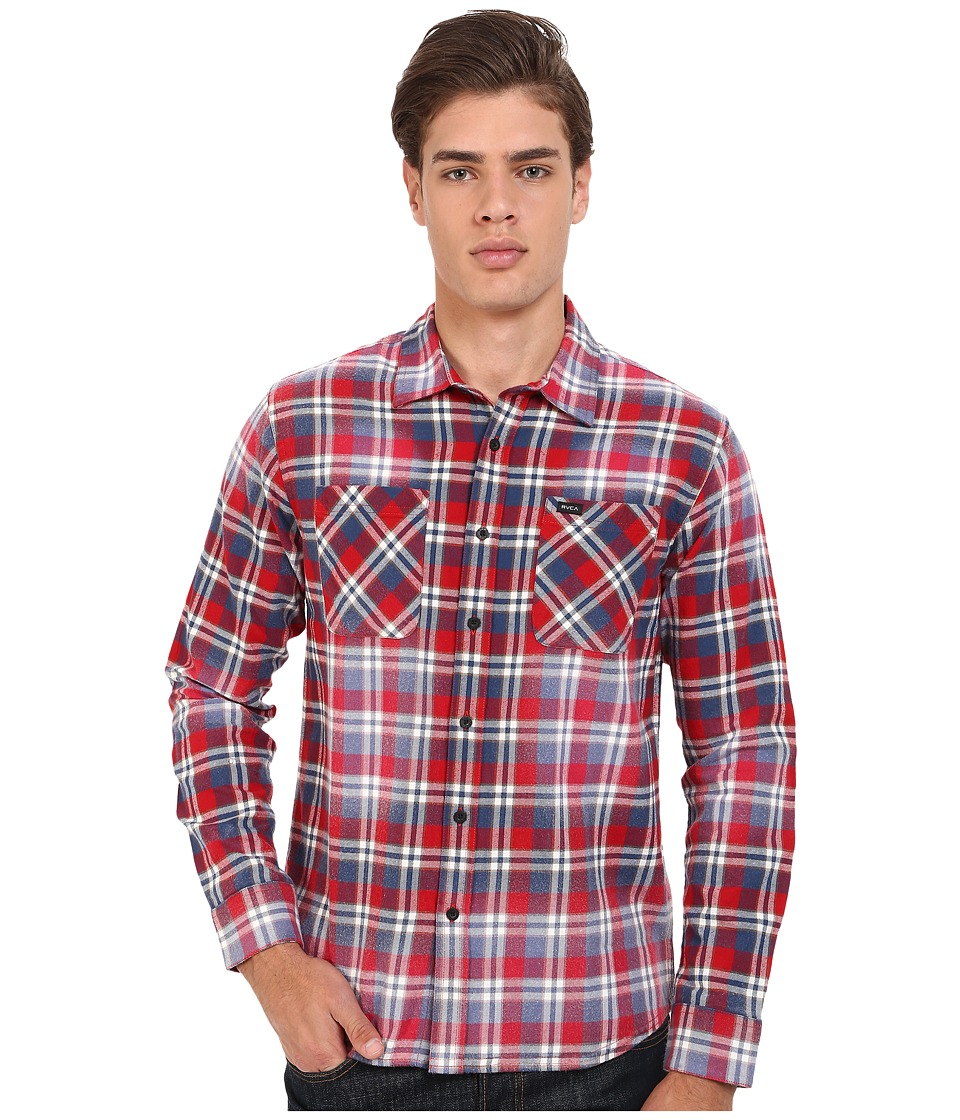 RVCA - Bleach Fight Long Sleeve Woven (Red Hot) Men's Long Sleeve Button Up