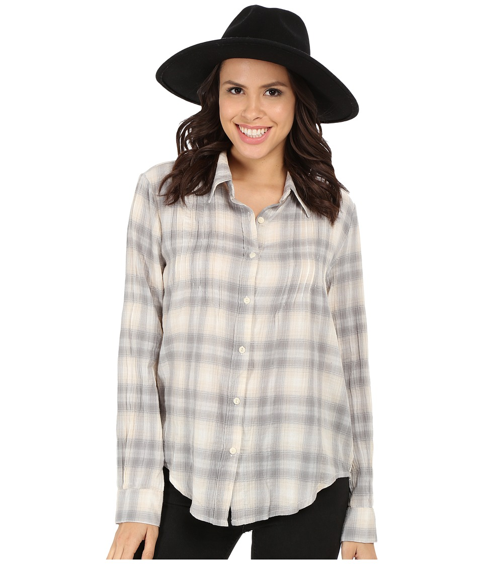 Dylan by True Grit - Romantic Blouse Buffalo Check w/ Embroidery (Heather/Natural) Women's Long Sleeve Button Up