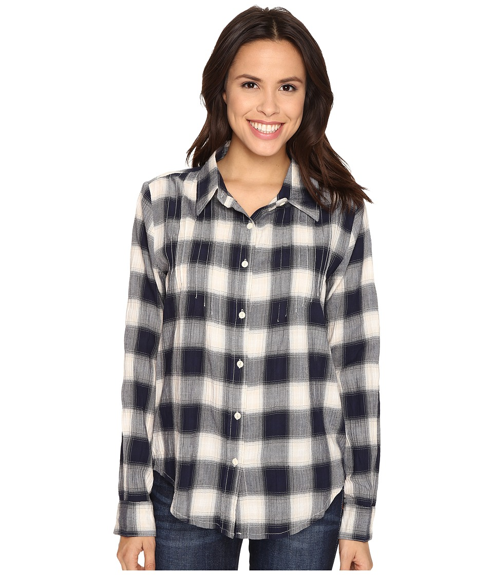 Dylan by True Grit - Romantic Blouse Buffalo Check w/ Embroidery (Indigo/Natural) Women's Long Sleeve Button Up