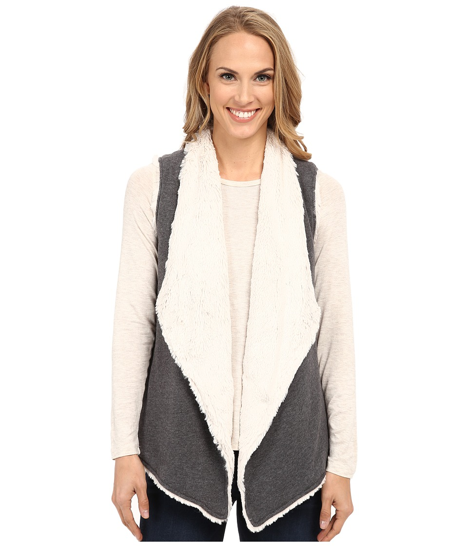 Dylan by True Grit - Luxe Fleece Drape Vest w/ Fur Lining (Vintage Black) Women's Vest