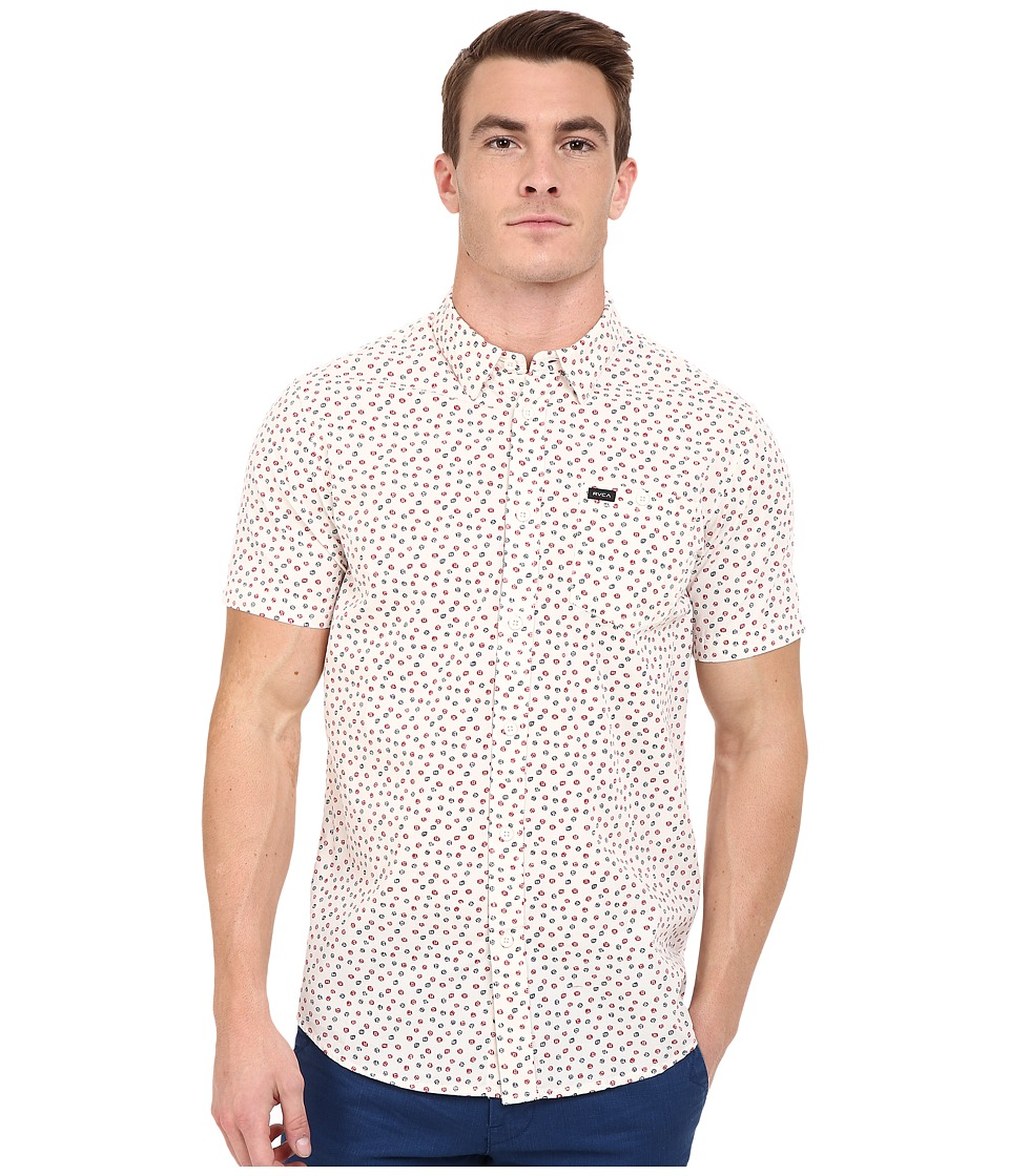 RVCA - Brush Block Short Sleeve Woven (Vintage White) Men's Short Sleeve Pullover