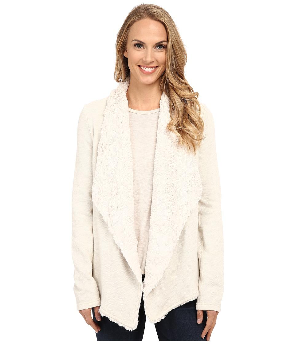 Dylan by True Grit - Luxe Fleece Drape Jacket w/ Fur Lining (Vintage White Heather) Women's Coat