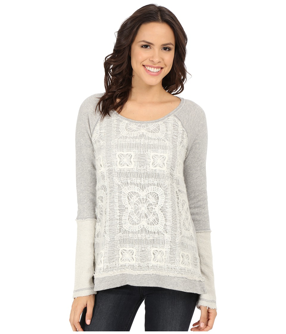 Dylan by True Grit - Vintage Crochet and Fleece Top (Vintage Grey Heather) Women's Sweatshirt