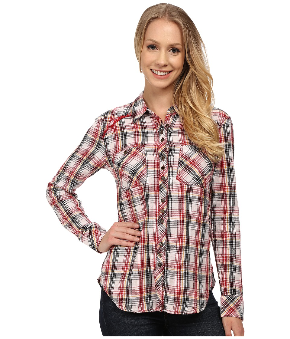 Dylan by True Grit - Roots Vintage Flannel Plaid Shirt w/ Novelty Lining (Vintage Red) Women's Long Sleeve Button Up