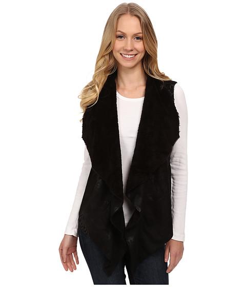 Dylan by True Grit - Boheme Bonded Suede Pile Ruffle Vest (Vintage Black) Women