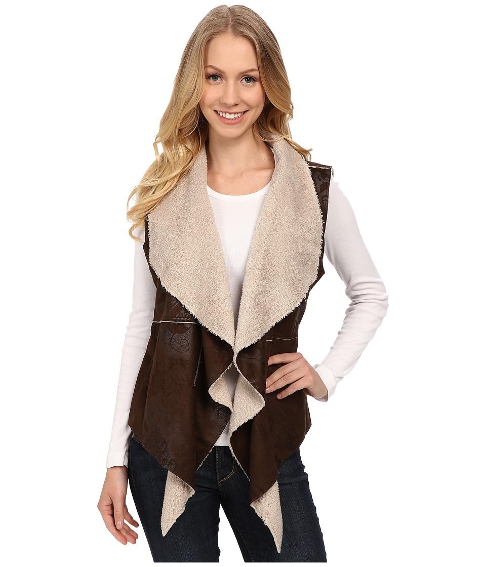 Dylan by True Grit - Boheme Bonded Suede Pile Ruffle Vest (Rich Brown) Women's Vest