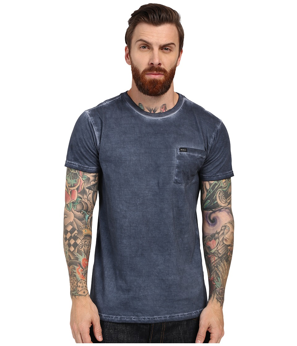 RVCA - Cold Call Short Sleeve Knit (Dark Denim) Men's Short Sleeve Pullover