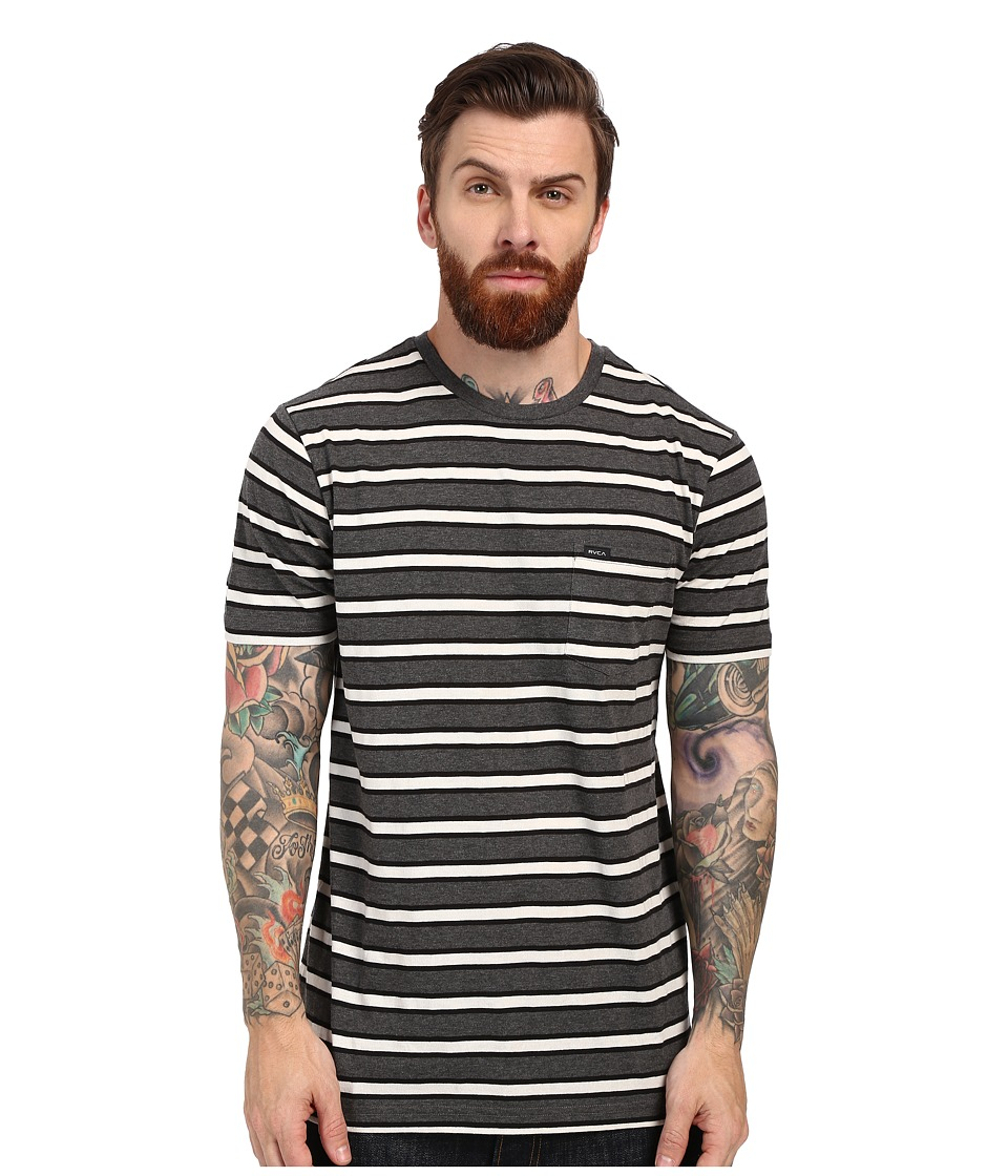 RVCA - Fell Stripe Crew (Charcoal Heather) Men's Short Sleeve Pullover