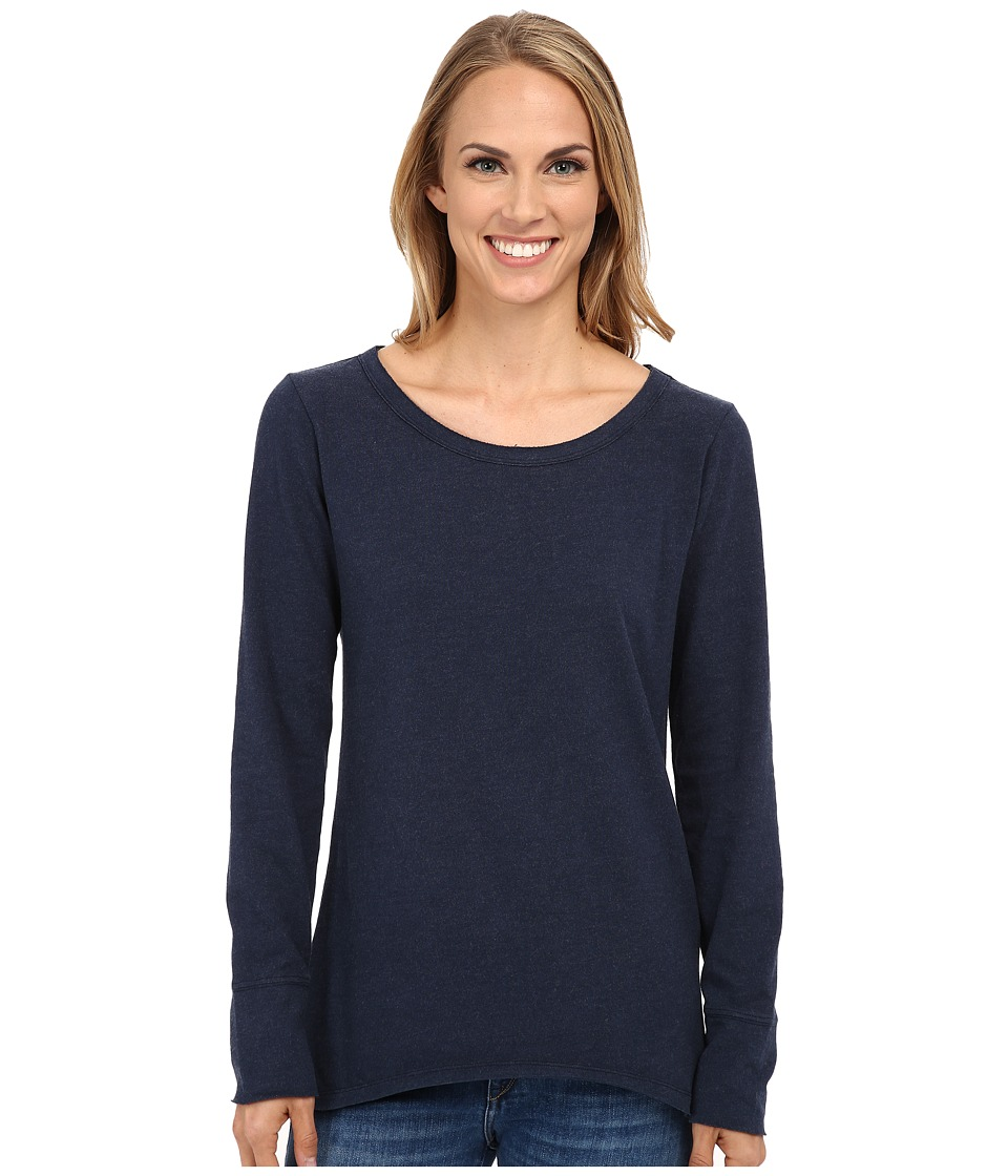 Dylan by True Grit - Sueded Knit Solid Long Sleeve Rock Tee (Indigo) Women's T Shirt