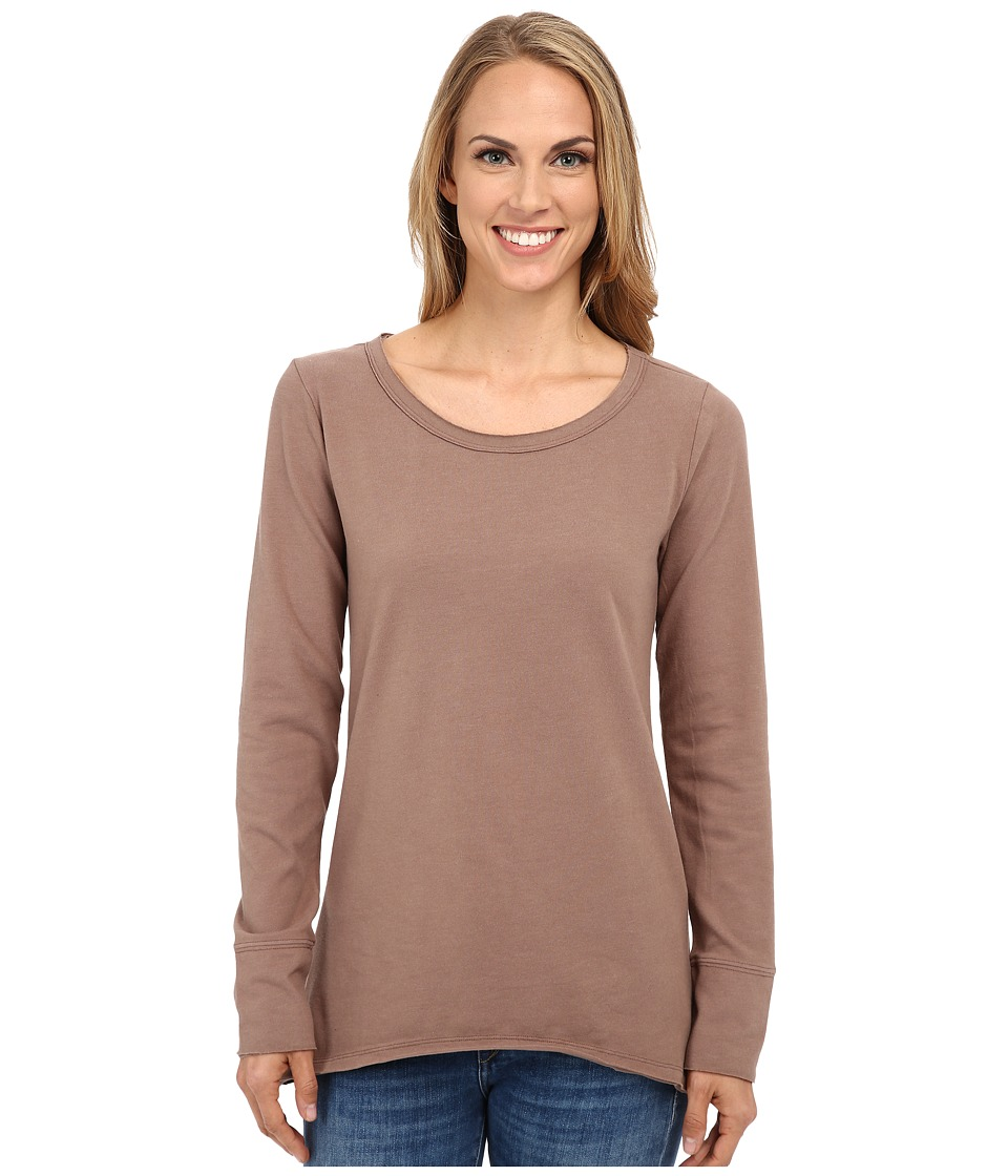 Dylan by True Grit - Sueded Knit Solid Long Sleeve Rock Tee (Cocoa Brown) Women's T Shirt