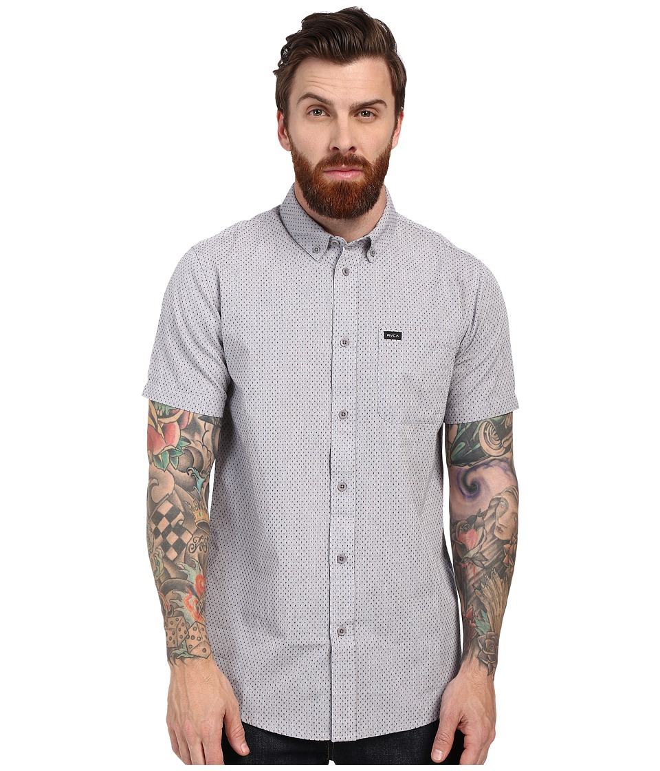 RVCA - That'll Do Crosses Short Sleeve Woven (Grey) Men's Short Sleeve Button Up