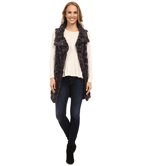 Dylan by True Grit - Long Silky Fur Vest (Charcoal) Women's Vest
