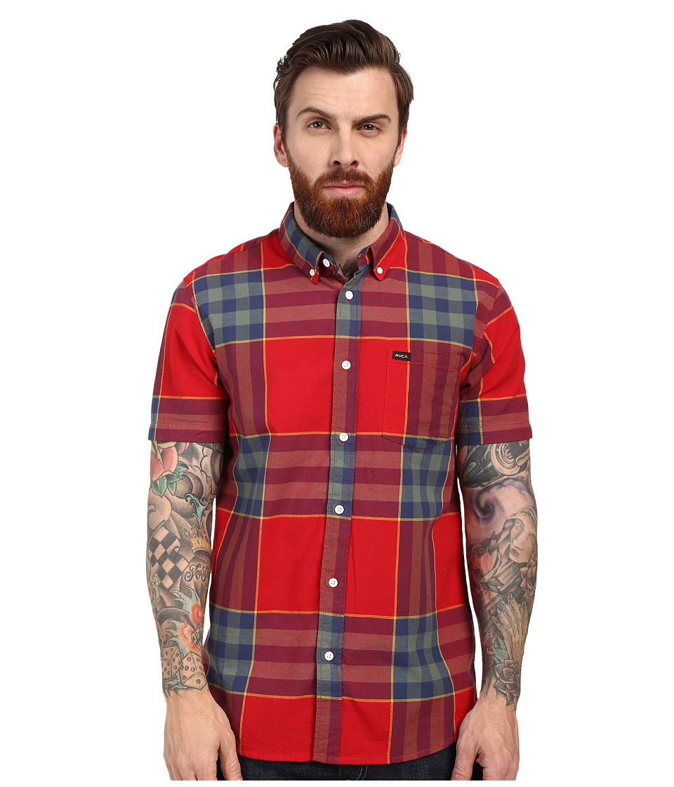 RVCA - Brookfield Short Sleeve Woven (Red Hot) Men