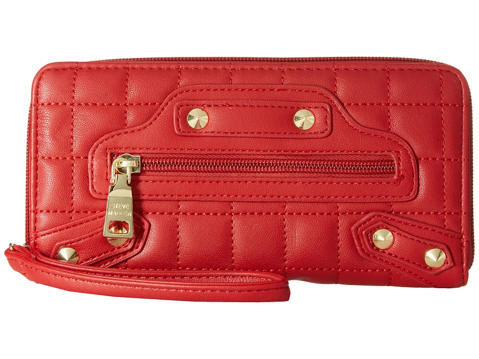 Steve Madden - Diamond Quilt Zip Around Wristlet (Red) Wristlet Handbags