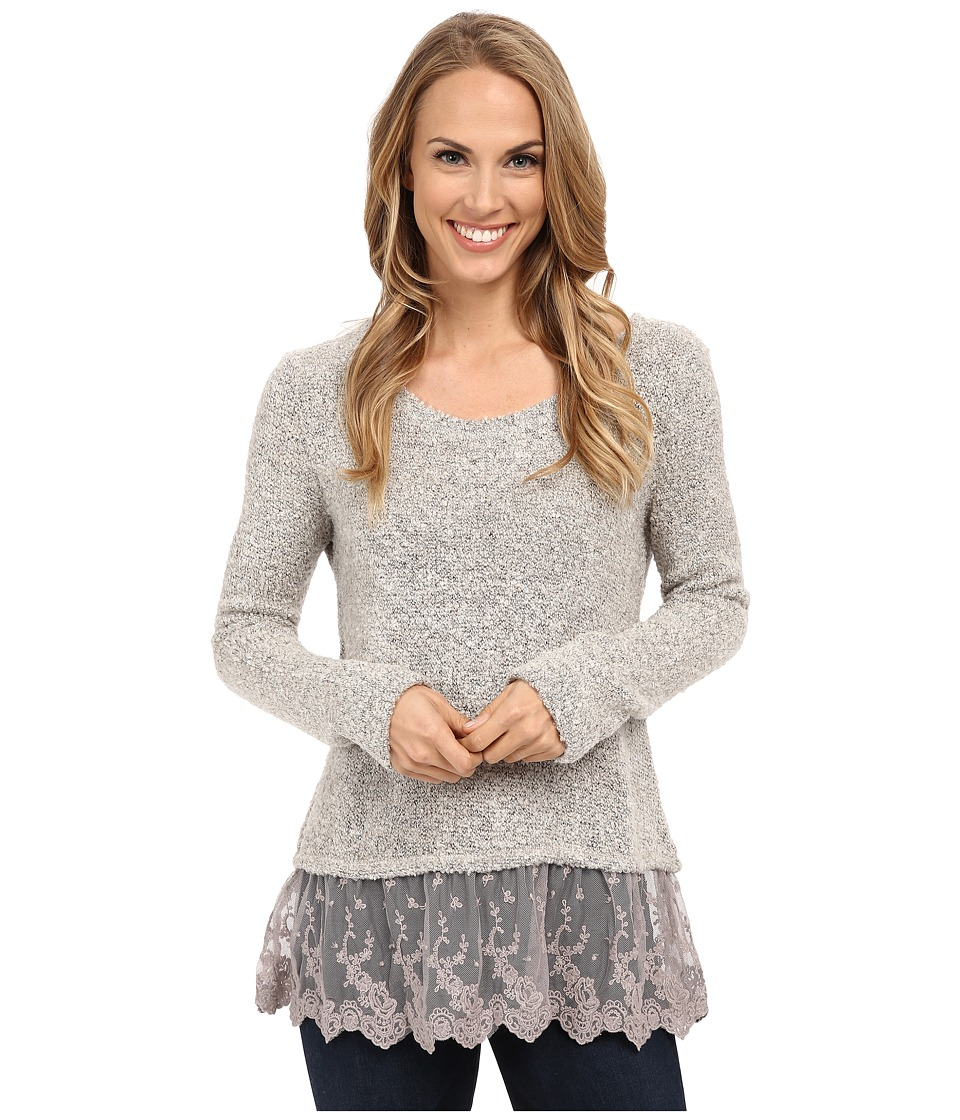 Dylan by True Grit - Silky Boucle Sweater with Vintage Lace (Winter Snow) Women's Sweater
