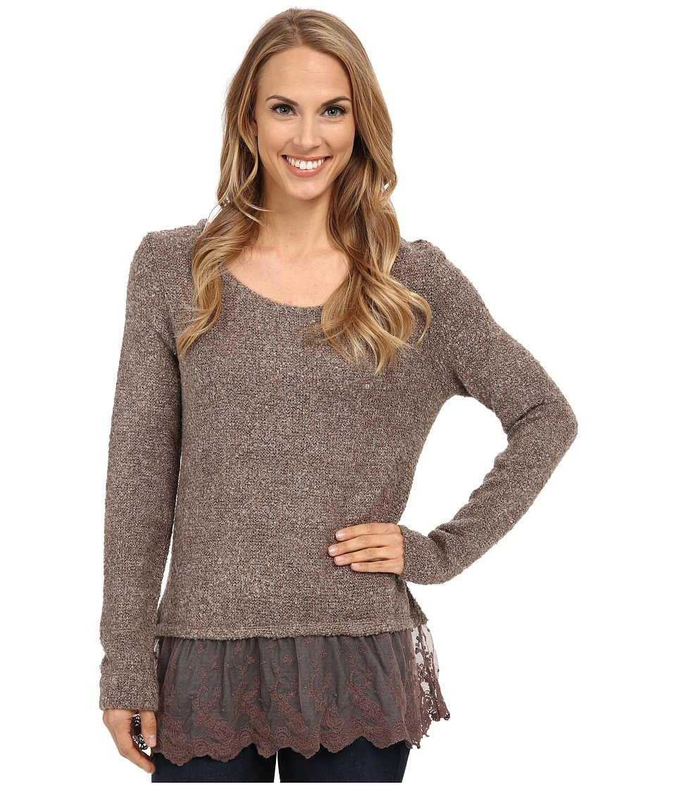 Dylan by True Grit - Silky Boucle Sweater with Vintage Lace (Birch) Women's Sweater