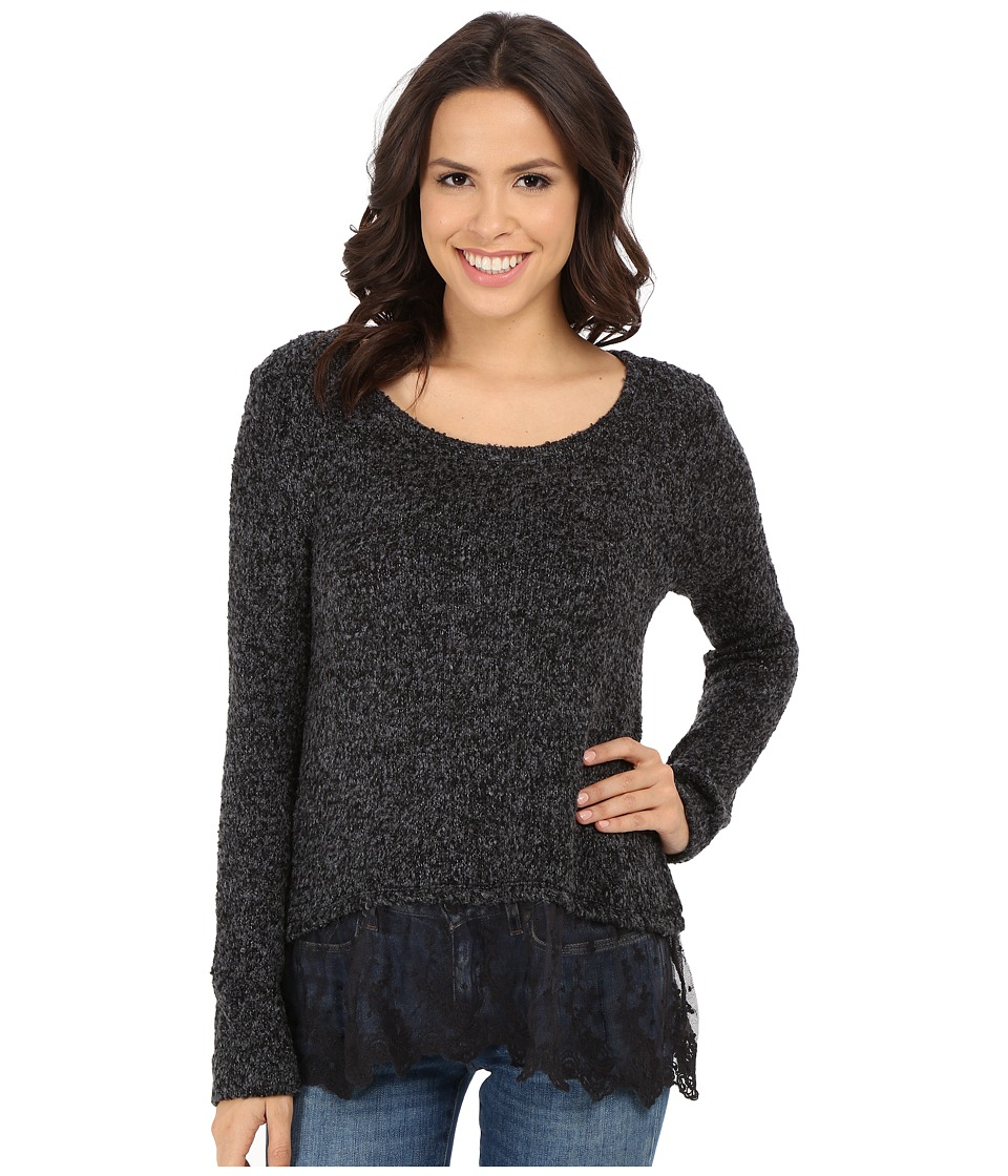 Dylan by True Grit - Silky Boucle Sweater with Vintage Lace (Vintage Black) Women