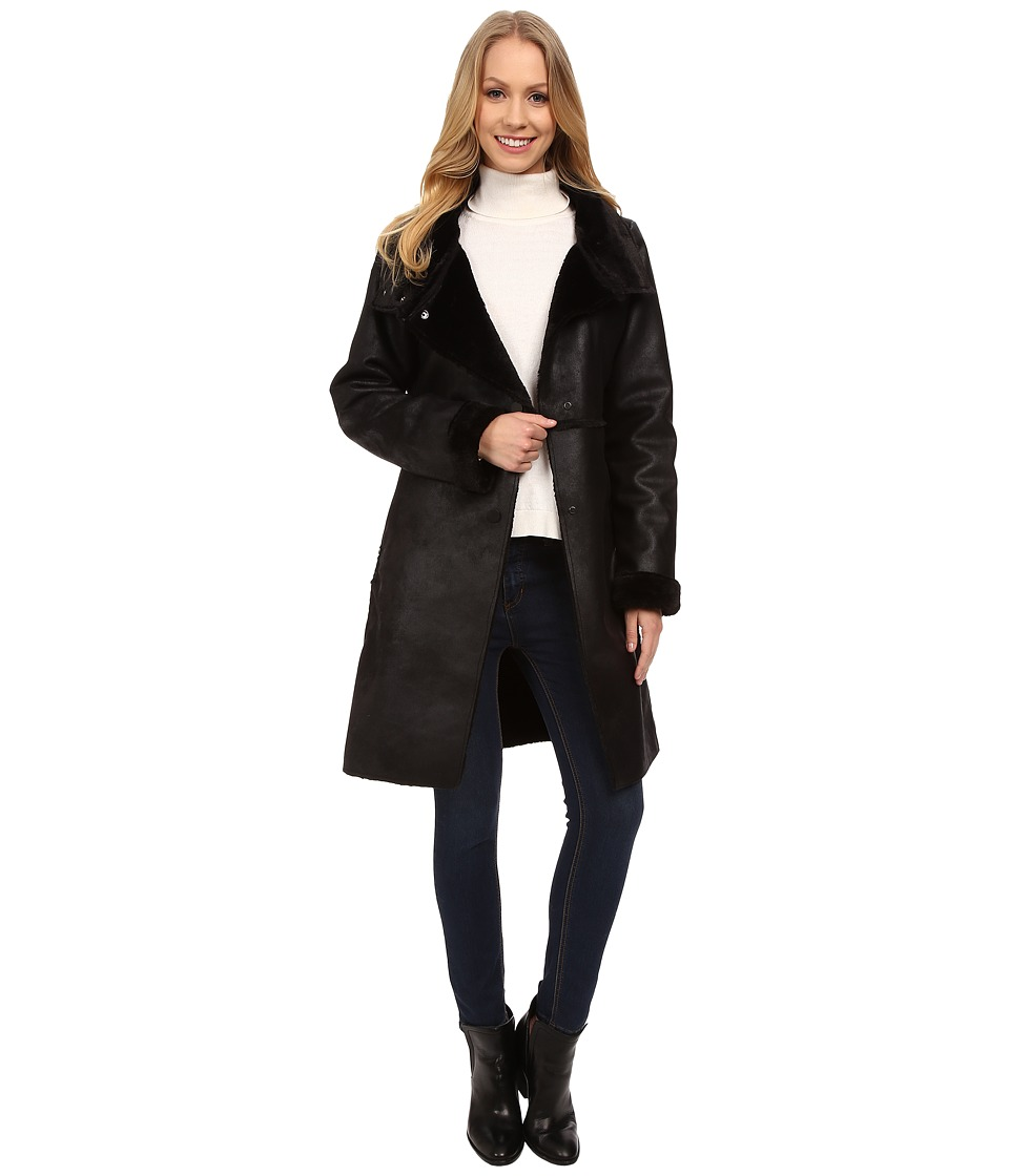 Dylan by True Grit - Vintage Shearling Long Coat (Vintage Black) Women's Coat plus size,  plus size fashion plus size appare