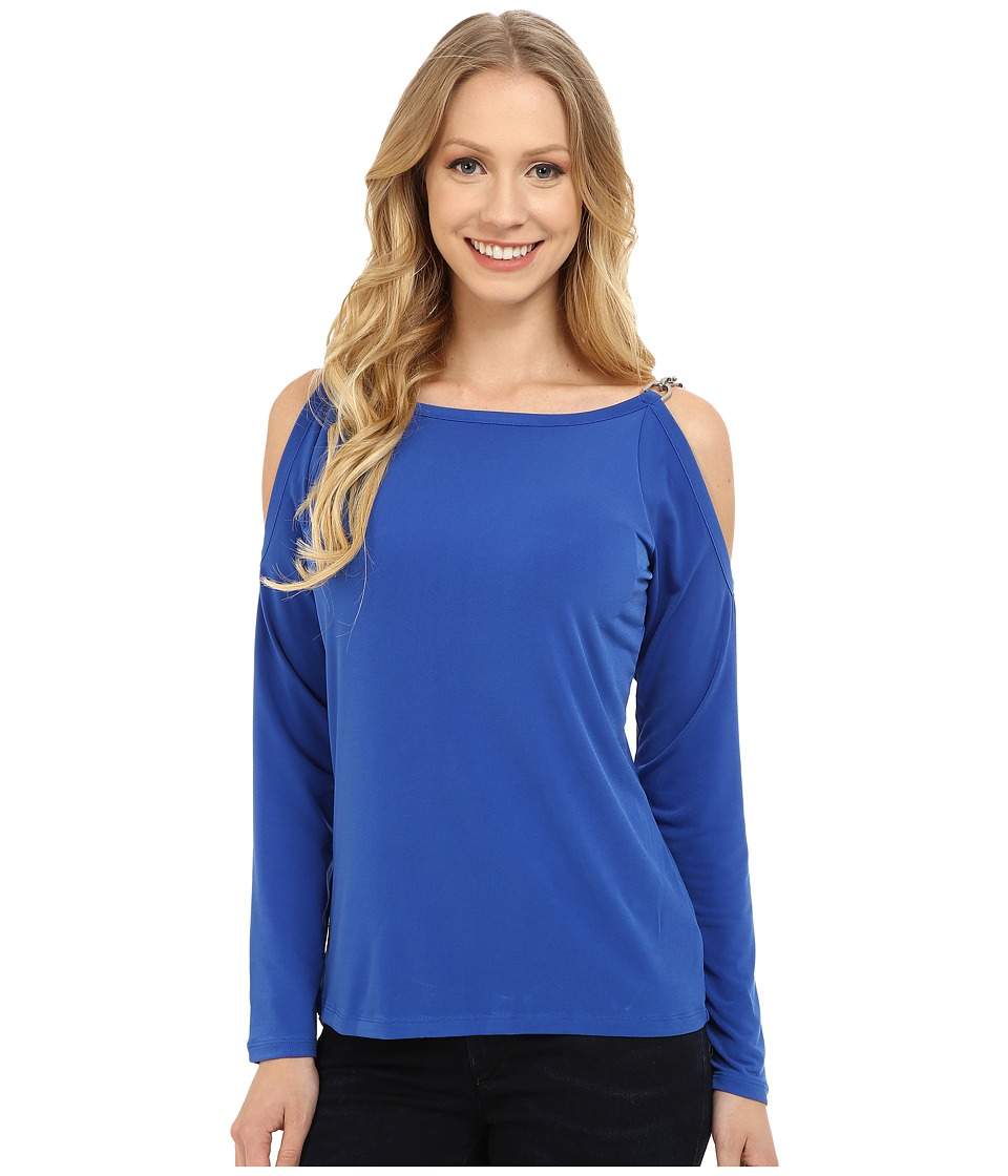 MICHAEL Michael Kors Oval Link Cold Shoulder Top (Amalfi Blue) Women