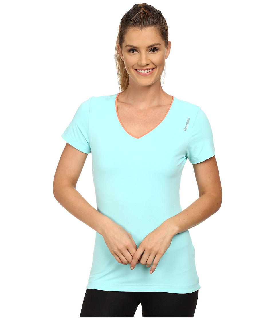 Reebok - Play Dry V-Neck Shirt (Crystal Blue) Women's Clothing