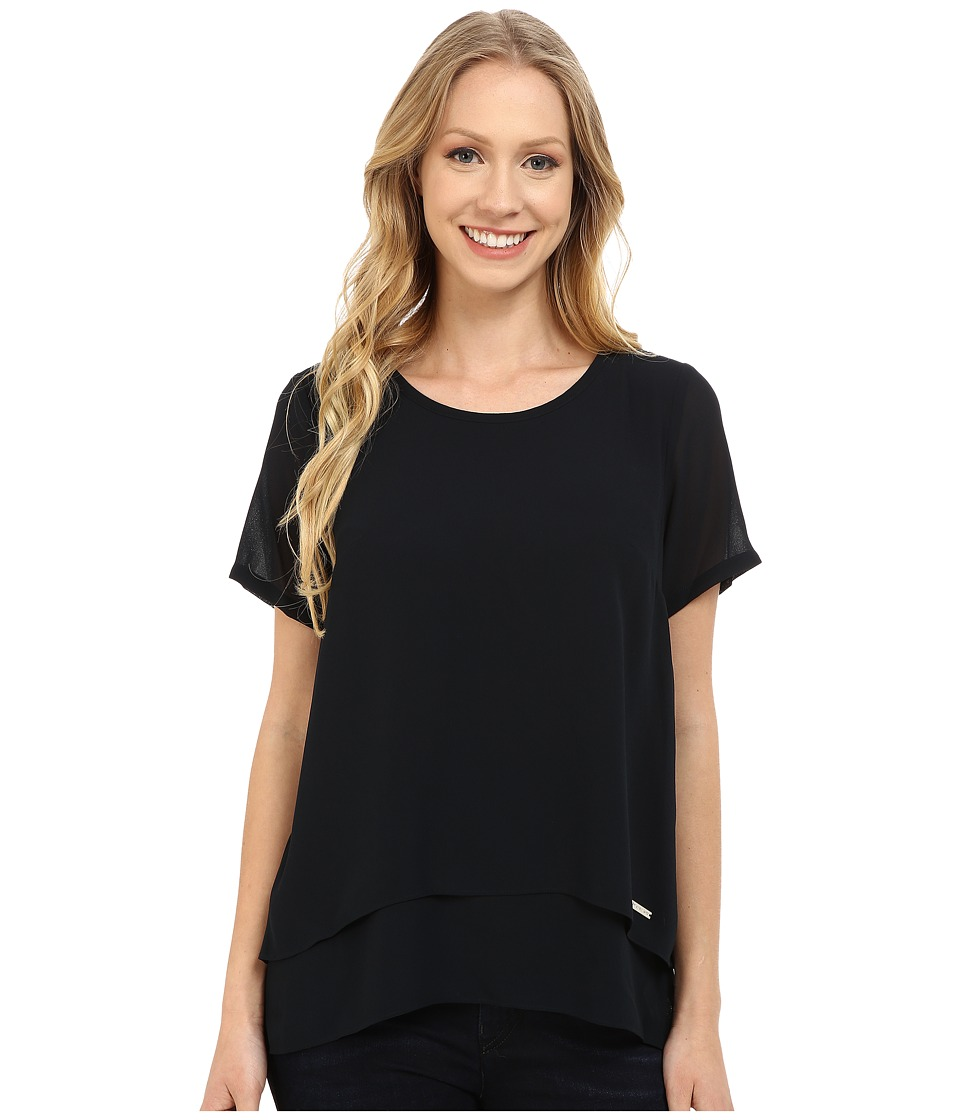 MICHAEL Michael Kors - Back Cutout Short Sleeve Top (New Navy) Women's Clothing