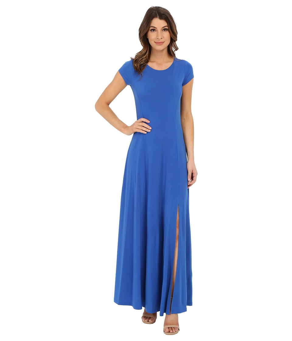 MICHAEL Michael Kors - Cap Sleeve Slit Maxi Dress (Amalfi Blue) Women's Dress