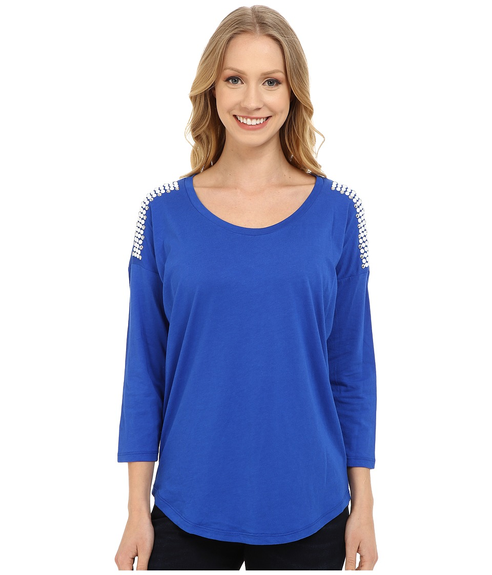 MICHAEL Michael Kors - Stud Shoulder 3/4 Sleeve Top (Amalfi Blue) Women's Clothing